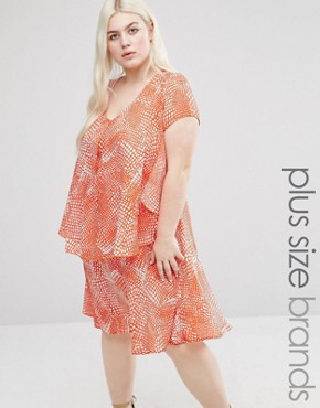 photo Frill Dress In Abstract Print by Koko Plus, color Coral/White - Image 1