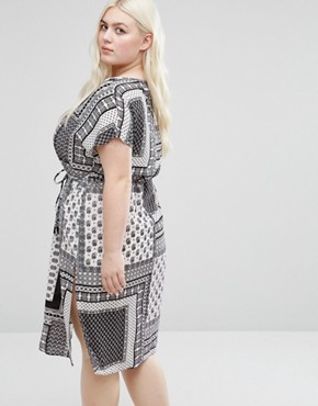 photo Shift Dress with Side Splits In Scarf Print by Koko Plus, color Black/Ivory - Image 2