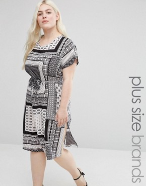 photo Shift Dress with Side Splits In Scarf Print by Koko Plus, color Black/Ivory - Image 1