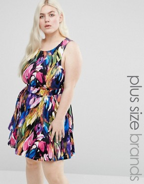 photo Printed Dress with Cut Out Back by Koko Plus, color Blue/Multi - Image 1