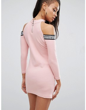 photo Bodycon Dress with Tape Logo & Cold Shoulder by SHADE London, color Pink - Image 2