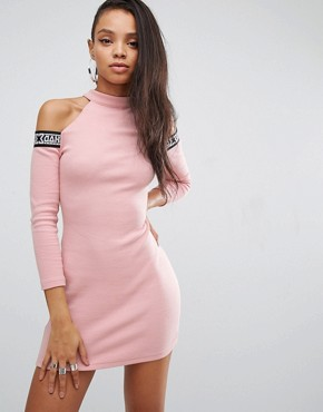 photo Bodycon Dress with Tape Logo & Cold Shoulder by SHADE London, color Pink - Image 1