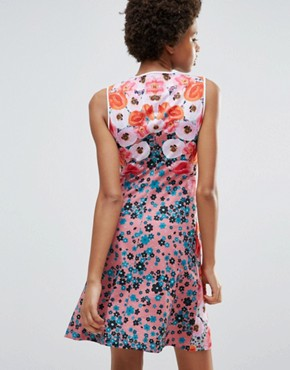 photo Poppy Blossoms Matte Jersey Dress by Clover Canyon, color Poppy Blossom - Image 2