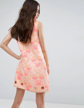 photo Floral Jacquard Dress by Clover Canyon, color Pink - Image 2