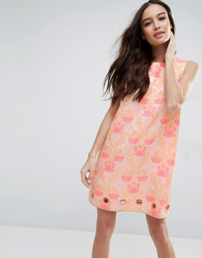 photo Floral Jacquard Dress by Clover Canyon, color Pink - Image 1