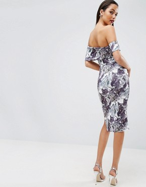 photo Marble Print One Shoulder Clean Scuba Midi Dress by ASOS, color  - Image 2