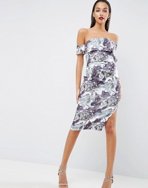 photo Marble Print One Shoulder Clean Scuba Midi Dress by ASOS, color  - Image 1