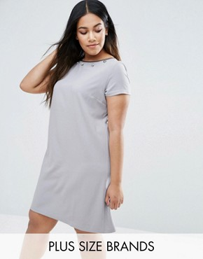 photo Embellished Dress by Elvi Plus, color Grey - Image 1