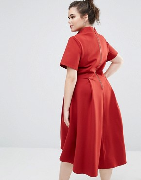 photo High Neck Short Sleeve Midi Dress with Hi Lo Hem by Closet London Plus, color Burgundy - Image 2