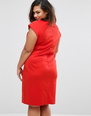 photo Dress with Slit Neck by Elvi Plus, color Red - Image 2