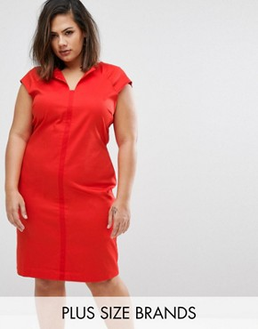 photo Dress with Slit Neck by Elvi Plus, color Red - Image 1