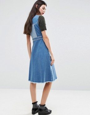 photo Whip Stitch Denim Dress by House of Holland, color Blue - Image 2
