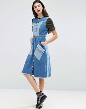 photo Whip Stitch Denim Dress by House of Holland, color Blue - Image 1