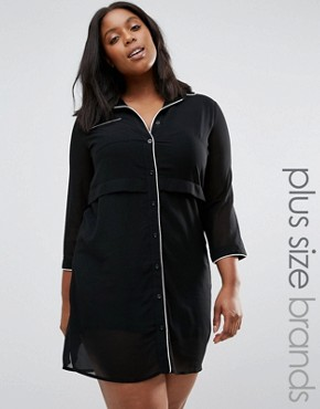 photo Shirt Dress with Contrast Piping by Praslin Plus, color Black - Image 1