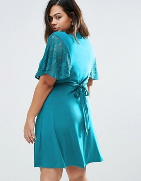 photo Wrap Dress with Lace Kimono Sleeves by Praslin Plus, color Teal - Image 2