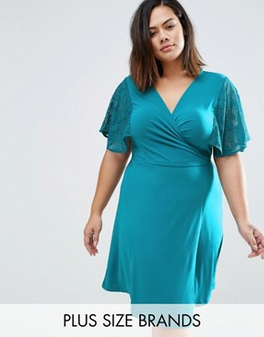 photo Wrap Dress with Lace Kimono Sleeves by Praslin Plus, color Teal - Image 1