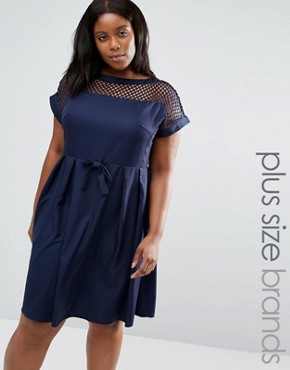 photo Dress with Lattice Top by Praslin Plus, color Navy - Image 1