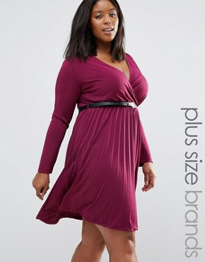 photo Dress with Pleated Skirt and Belt by Praslin Plus, color Wine - Image 1
