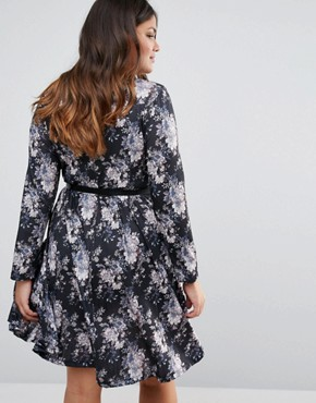 photo Dress with Pleated Skirt and Belt In Floral Print by Praslin Plus, color Black Floral - Image 2