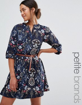 photo Belted Dress In Floral Print by Yumi Petite, color Navy - Image 1