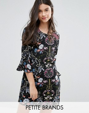 photo Shift Dress with Frill Sleeves In Patchwork Print by Yumi Petite, color Black - Image 1