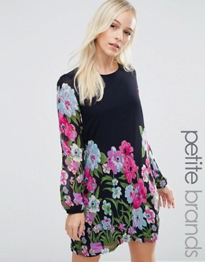 photo Shift Dress In Floral Border Print by Yumi Petite, color Navy - Image 1