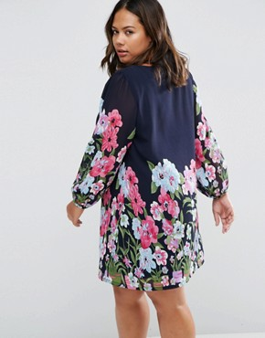 photo Shift Dress In Floral Border Print by Yumi Plus, color Navy - Image 2