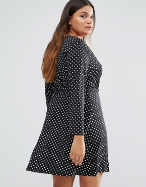 photo Wrap Dress In Polka Dot Print by Yumi Plus, color Black - Image 2