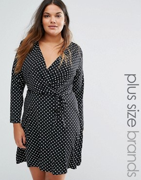 photo Wrap Dress In Polka Dot Print by Yumi Plus, color Black - Image 1