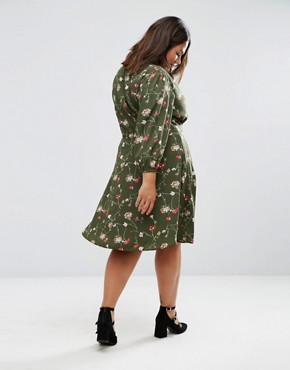 photo Wrap Dress In Floral Print by Yumi Plus, color Olive - Image 2