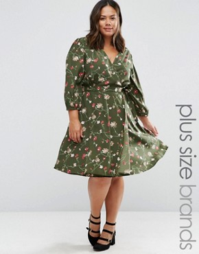 photo Wrap Dress In Floral Print by Yumi Plus, color Olive - Image 1