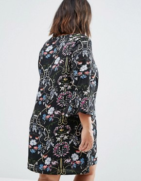 photo Shift Dress with Frill Sleeves In Patchwork Print by Yumi Plus, color Black - Image 2