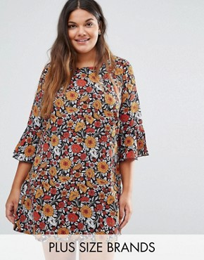 photo Shift Dress with Frill Sleeves In Floral Print by Yumi Plus, color Rust - Image 1