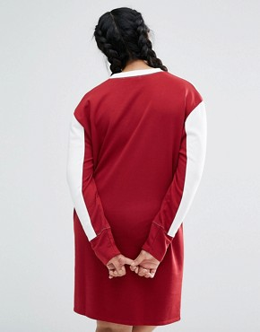 photo Colour Block Sweat Dress by Daisy Street Plus, color Burgundy - Image 2