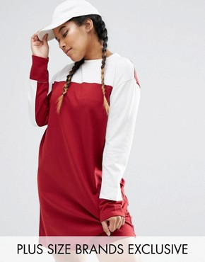 photo Colour Block Sweat Dress by Daisy Street Plus, color Burgundy - Image 1