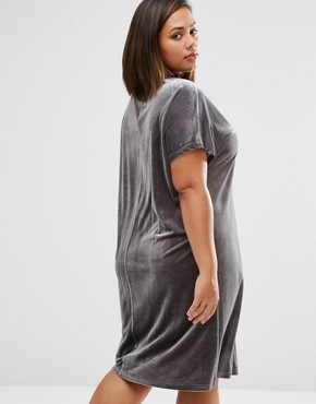photo Allover Velvet Mini Shift Dress by One Day Plus, color Charcoal - Image 2