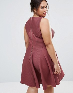 photo Sleeveless Textured Skater Dress by Closet London Plus, color Burgundy - Image 2