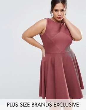 photo Sleeveless Textured Skater Dress by Closet London Plus, color Burgundy - Image 1