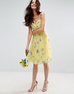 photo Rouched Mini Dress in Sunshine Floral Print by ASOS WEDDING, color  - Image 1