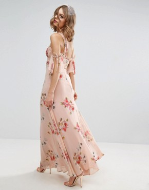 photo One Shoulder Maxi Dress in Summer Rose Bouquet Print by ASOS WEDDING, color  - Image 2