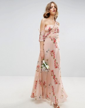 photo One Shoulder Maxi Dress in Summer Rose Bouquet Print by ASOS WEDDING, color  - Image 1