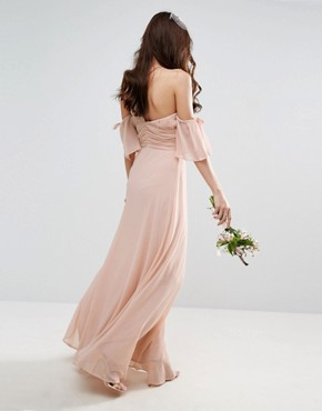 photo One Shoulder Maxi Dress by ASOS WEDDING, color Pink - Image 2