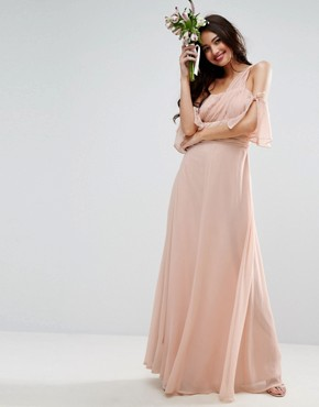 photo One Shoulder Maxi Dress by ASOS WEDDING, color Pink - Image 1