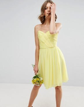 photo Rouched Mini Dress by ASOS WEDDING, color Yellow - Image 1