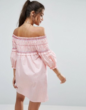 photo Shirring Detail Off Shoulder Sundress in Cotton Stripe by ASOS, color  - Image 2