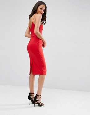 photo Deep Plunge Scuba Strappy Midi Dress by ASOS, color Red - Image 2