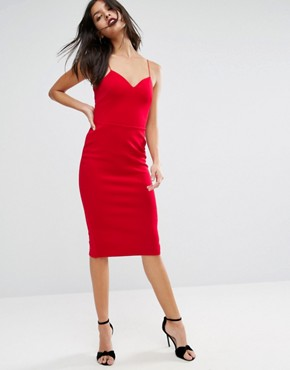 photo Deep Plunge Scuba Strappy Midi Dress by ASOS, color Red - Image 1