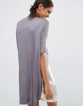 photo Oversized Tshirt Dress In Allover Sequin by Daisy Street Tall, color Silver - Image 2