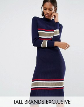 photo Roll Neck Midi Dress with Contrast Stripe by Daisy Street Tall, color  - Image 1