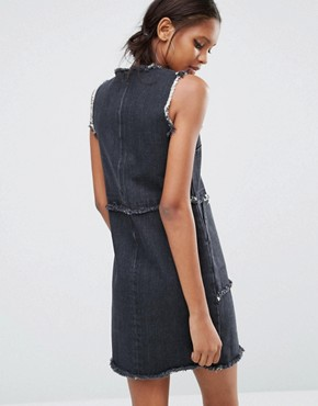 photo Mini Denim Dress with Fray Detail by Daisy Street Tall, color Washed Black - Image 2